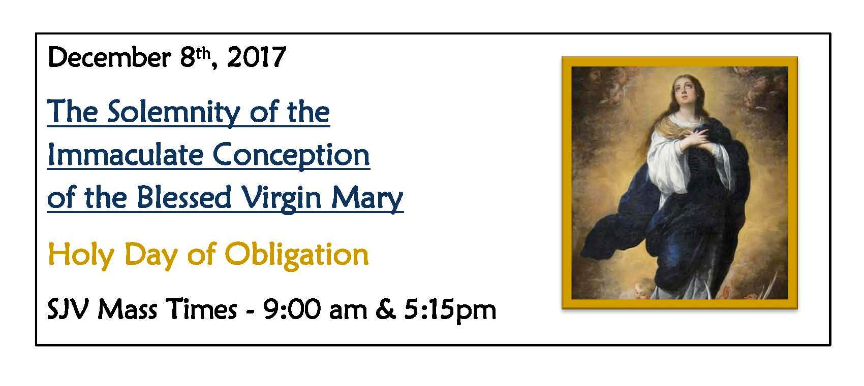 Immaculate Conception Mass Reminder 12.8.17